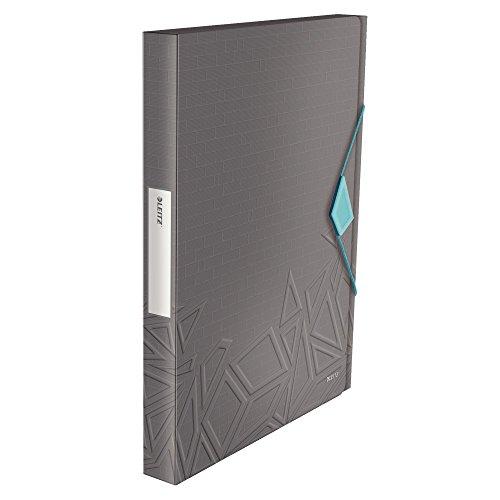 Leitz, A4 Ablagebox, Für bis zu 250 Blatt A4, 3 cm Rückenbreite, Gummibandverschluss, PP-Material, Dunkelgrau, Urban Chic, 39990089