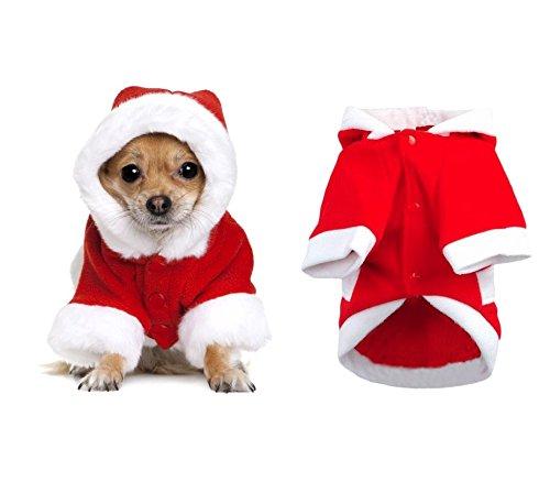 MEDIA WAVE store 5679 Vestito da Babbo Natale con Cappuccio per Cani di Piccola e Media Taglia (S)