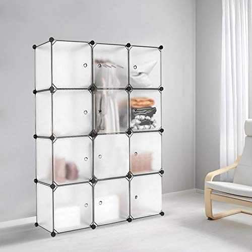 Meerveil Interlocking Portable Plastic Wardrobe Cabinet,Transparent Cube Storage Organizer for Hanging Clothes,Modular Cabinet for Clothes, Books,Shoes, Toys (12 Cube)