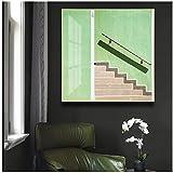 un known Cuadros Decoracion Salon Escaleras abstractas Modernas Impresiones de Carteles Verdes Subway Wall Art Pictures para Pasillo Sala de Estar 23.6x23.6in (60x60cm) x1pcs Sin Marco
