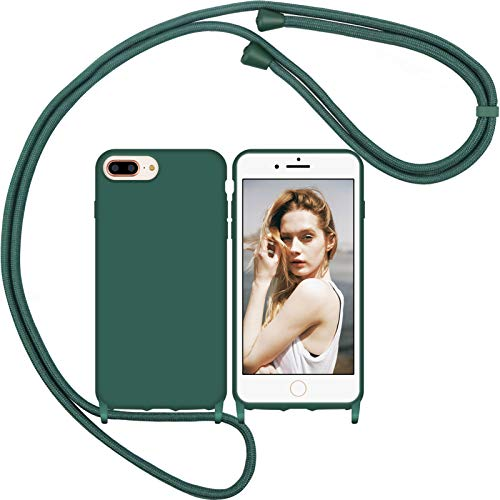 Funda Silicona con Cuerda para iPhone 7 Plus iPhone 8 Plus, Carcasa Suave Silicona Case con Correa Colgante Ajustable Collar Correa de Cuello Cadena Cordón (Aguja de Pino Verde 1)