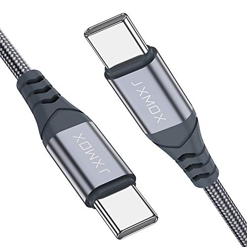 USB C to USB C Cable [2 Pack 3.3ft], JXMOX USB-C to USB-C Fast Charger Nylon Braided Charging Cord Compatible with Samsung Galaxy Note 10 Plus A80, Google Pixel 2/3/3a XL, MacBook,iPad pro 2018-Grey