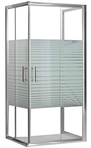 Mondodoccia–Cabina angular de ducha de 3lados en  cristal templado serigrafiado 5 mm. mod.Katariina 70x 90x 70