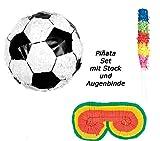 Scherzwelt Fußball Piñata Kindergeburtstag Pinata - Fussball Pinjata + Stab + Augenmaske