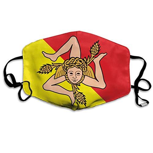 Sicilië Vlag Geel Rood Gezicht Cover Verstelbare Oorlussen Ademende Herbruikbare Outdoor Mond Cover Stofhoes voor Volwassenen Kids