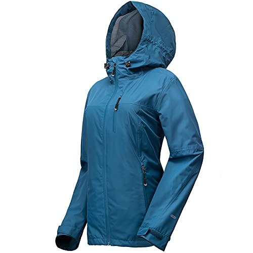 33,000ft Regenjacke Damen Wasserdicht Outdoorjacke Atmungsaktiv Herbst Übergangsjacke Leichte Jacke mit Kapuze Windbreaker zum Wandern Reisen Treking Fahrrad Vintage-Blau 36