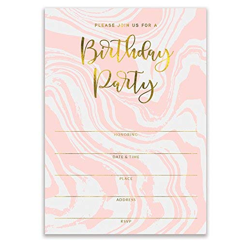 """DB Party Studio Pink Birthday Party Invitations Modern Swirling Colorful Fill In Invites with Envelopes ( Pack of 25 ) Large 5x7"""" Blank 21st Sweet 16 Adult Teen Child Kid Female Girl Parties VI0073B"""