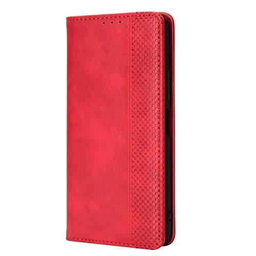 LEYAN Funda para Xiaomi Redmi Note 10 Pro (6.67') Funda, Leather Folio Carcasa con Billetera, Magnética Premium PU/TPU Cuero FILP Case Cover con Soporte/Tapa Tarjetas (Rojo)