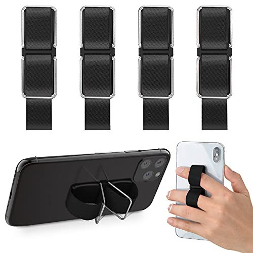 4 Pieces Phone Grip, CISID Cell Phone Strap Finger Kickstand Phone Loop Holder for Hand Compatible with iPhone 11 pro, Samsung Galaxy and Most Smartphones (Black,Black,Black,Black)