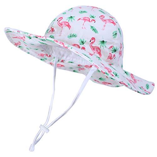 Happy Cherry - Sombrero de sol contra los rayos UV de verano, protección para bebé, niña, niño, gorro, visera, playa o vacaciones. Flamencos rosas. 12-18 Meses