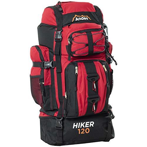 Andes Hiker 120 - Wander-/Camping-Rucksack - extragroß - 120 l Fassungsvermögen - Rot
