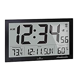 MARATHON CL030062BK Slim-Jumbo Atomic Digital Wall Clock with Temperature, Date and Humidity (Black)