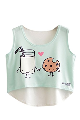Women Girl's Cute Cartoon Milk and Cookies Print Sleeveless Crop Top