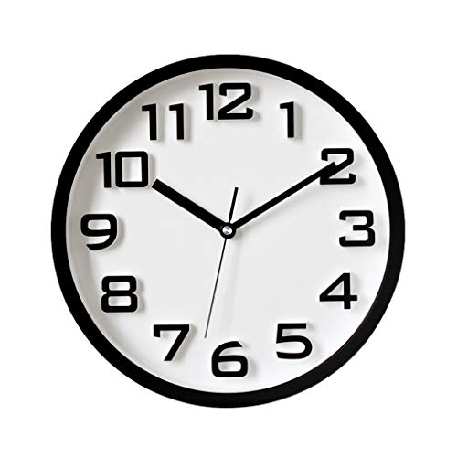 SHUMACHENG2020 Reloj Pared Reloj de Pared Moderno de 13 Pulgadas con dial Digital 3D Mute Sin tictac Decoración para el hogar Reloj de Pared Redondo 4 Colores (Azul) Reloj de Pared (Color : Black)
