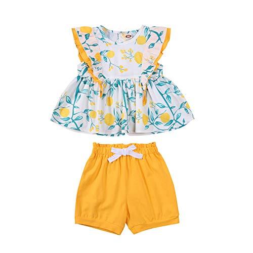 Newnorn - Conjunto de ropa para bebés y niñas, sin mangas, con estampado floral, con cordón, 2 unidades