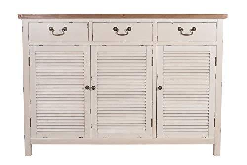 Kommode Bretagne XL 3 Türen Landhaus Stil Holz Vintage Look Creme weiß