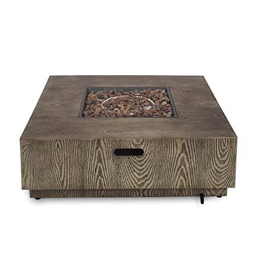 Jee Design- Firepits for Outside Propane-Fire Pit Tables for Outside Patio-Brown 40' Square Firepit with Lava Rocks-The Centerpiece of Your Outdoor Entertainment Space