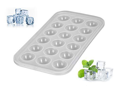 Levivo Silikon Eiswürfelform 18 Eiswürfel Halbkreis, Silikon Antihaft Eiswürfelbehälter, Eiswürfelbereiter Semi-Transparent 27 x 14 x 2,9 cm