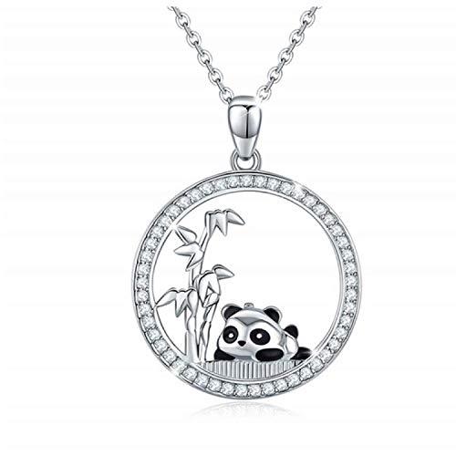 N/H 925 Sterling Silber Anhänger Halskette runde Pflaster Panda Charm Halskette weibliches Mädchen Geschenk