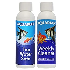 AQUARIAN Freshwater and Saltwater Fish Tank Water Conditioners Bundle: Includes (1) AQUARIAN WEEKLY WATER CLEANER 118 ml and (1) AQUARIAN TAP WATER SAFE 118 ml