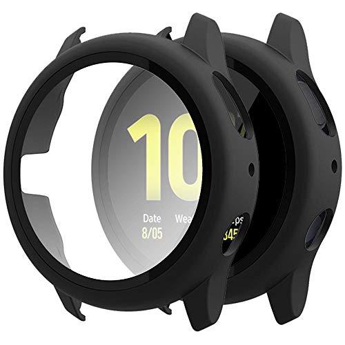 Miimall Panzerglas Schutzfolie Kompatibel mit Samsung Galaxy Watch Active 2 44mm Hülle PC + Panzerglas Displayschutz, Vollschutz Ultra Dünn Kratzfest Schutz für Galaxy Watch Active 2 44mm - Schwarz