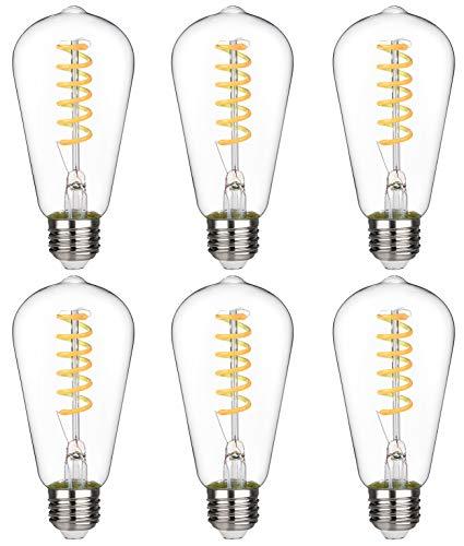 BORT (ST64/ST19) Vintage LED Edison Bulbs, 4.5W, Warm White 2700K, Antique LED Filament Light Bulbs, Dimmable, 40W Equivalent, 450LM, E26 Standard Base, Clear Glass (4.5W-2700K-6 Pack)