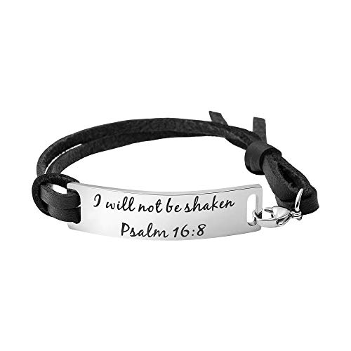 Yiyang Religious Bracelets for Women Inspirational Christian Gifts for Her Christmas Personalized Scripture Birthday Leather Strap Bangle (I Will not be Shaken)