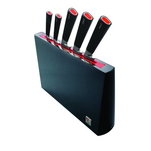 Richardson Sheffield Messerblock, inkl. Messer-Set, Gemüsemesser, Universalmesser, Kochmesser, Tranchiermesser & Brotmesser, Chrom-Molybdän-Vanadium-Stahl, Schwarz/Rot, 6-teilig