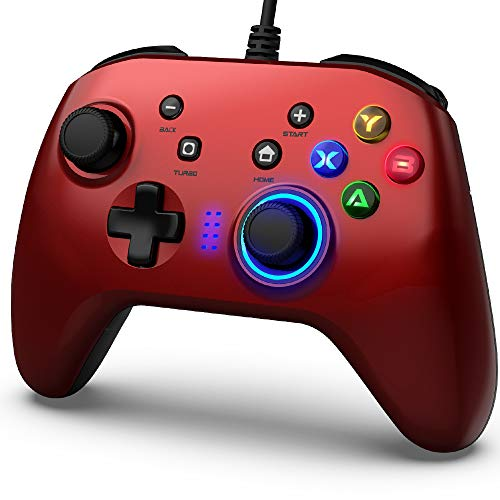 Mando de Juegos con Cable, Joystick Gamepad Doble Vibración, Controlador de Juegos PC compatible PS3, Switch, PC Windows 10 8 7, Portátil, TV Box, Teléfonos Móviles Android, Cable USB de 6.5 pies