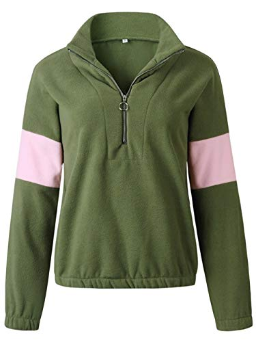 Vrouwen Tops Unisex Lange mouwen T-shirt Slim stikken Zipper coltrui Fles Pullove All-Over (Color : Green, Size : M)