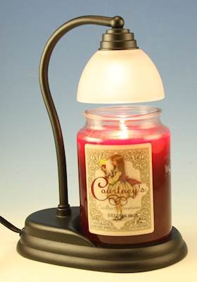 Candle Warmer Gift Set - Cinnamon Apple Candle and Aurora Black Candle Warmer