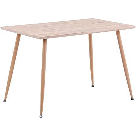 GOLDFAN Rectangulaire Table à Manger en Bois Rétro Style Industrielle Table de Cuisine Salle à Manger Salon Bureau Pieds en Métal, Chêne