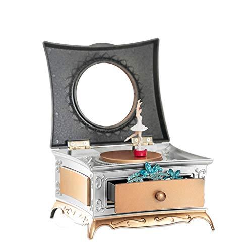 Boîte à musique manuelle Boîte à musique classique européenne tournant de petite boîte à musique de ballet, cadeau d'anniversaire créatif de phonographe nostalgique Bon son ( Color : Gold )
