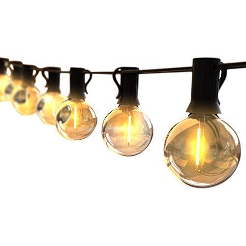ストリングライト 防雨型 5.5m LED電球 12個 E12口金 G40 電球色 PC素材 破損しにくい 屋内/屋外照明 結婚式 クリスマス ガーデンライト 庭 祭り 商店街