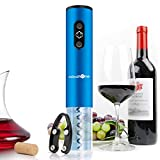 MaMahome Electric Wine Bottle Opener, Wine Openers Kit with Foil Cutter and Wine Pourer Wine Openers Gifts Set for Wine Loves The Best Gift (No Include Battery) (Blue)