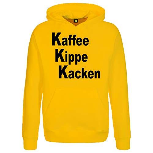 absenda Kaffee Kippe Kacken Kapuzenpullover | Guten Morgen | Arbeit | Zigarette | Kater Gelb 2XL