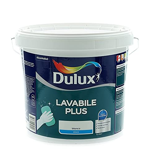 Dulux Lavabile Plus Pittura all'Acqua per Interni Lavabile per Tutti Gli Ambienti, 5 Litri, Bianco