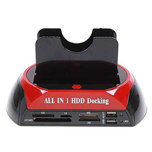 SOONHUA Base de disco duro multifuncional de alta velocidad de 2,5 pulgadas, 3,5 pulgadas, disco duro dual USB 2.0, estación de acoplamiento lector de tarjetas IDE, Hub