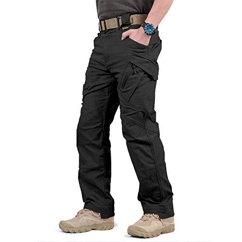 Loeay Herren Kampfhose City Military Tactical Cargo Pants Swat Army Hose Lässige Multi Pockets Stretch Outdoor Wanderhose Schwarz M
