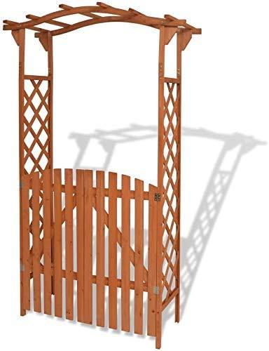 Arcos de madera de jardín, pérgola pérgola con 120x60x205cm puerta,Brown