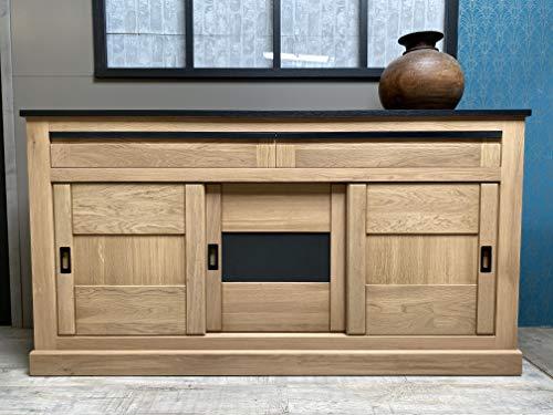 Chalet L1m84 - Armario de madera de roble macizo, 3 puertas correderas y 2 cajones