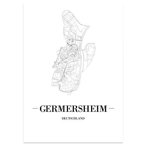 JUNIWORDS Stadtposter, Germersheim, Wähle eine Größe, 21 x 30 cm, Poster, Schrift A, Weiß