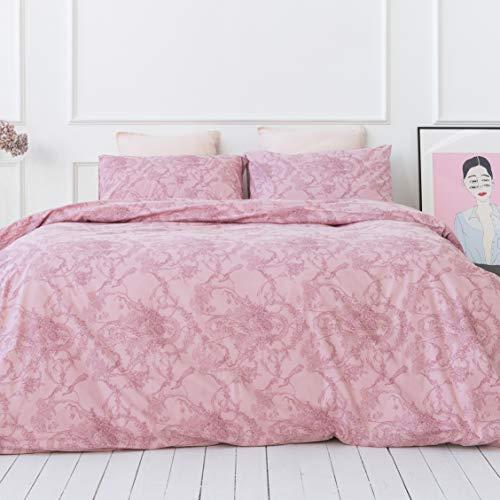 savastextile Pink Juegos De Cama 135x200 - Algodon Organico Juego Cama Algodon 100% - Juego De Cama + 1 Funda Almohada para Cama – Juego De Cama Funda Nordica Rosa - Juegos De Cama Ropa Verano
