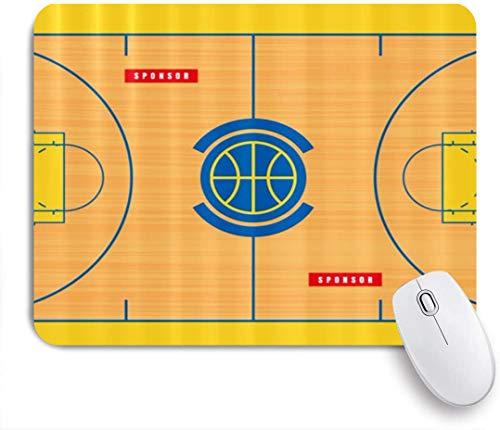 Dekoratives Gaming-Mauspad,Grundriss des Basketballplatzes drucken,Bürocomputer-Mausmatte mit rutschfester Gummibasis
