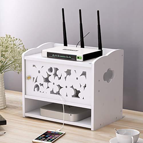 HJJ Tablettes flottantes Weißholz-Kunststoff-Platten-Hohle Geschnitzte Desktop-Aufbewahrungsbox, WiFi-Router-Speicherkabel Aufbewahrungsbox-Wand-Regal-Desktop-Aufbewahrungsbox étagère de Rangement