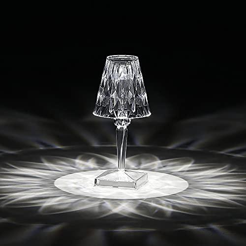 XINGS Lámpara de Mesa de Cristal con Control táctil LED con Puertos USB Lámparas de Noche Elegantes Pantalla de acrílico Dorado Decoración Luz Nocturna Iluminación Moderna Glam para