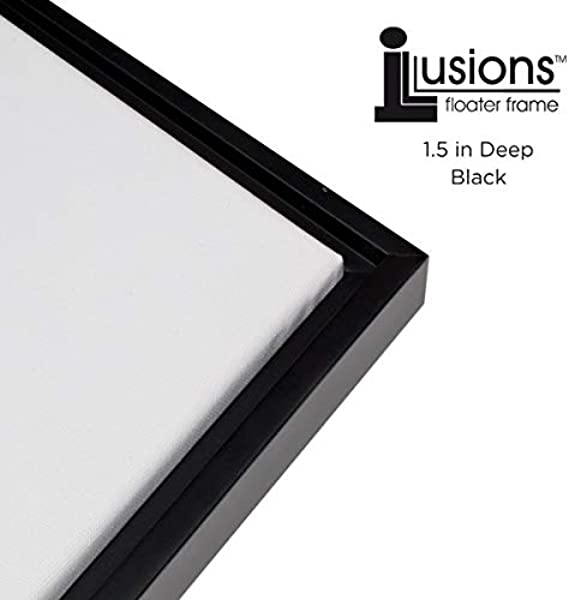 Creative Mark Illusions Floater Frame For 3 4 Inch Depth Stretched Canvas Paintings Artwork Black And Black 16x20