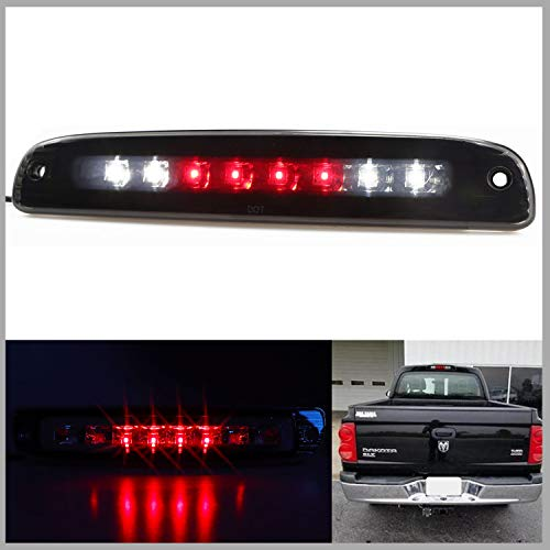 Sanzitop LED 3rd Brake Light Assembly Cargo Lamp Rear Tail Light Fit for 1997-2007 Dodge Dakota Replace 5056203AH 55056203AC, 55056203 (Black Housing Smoke Lens)