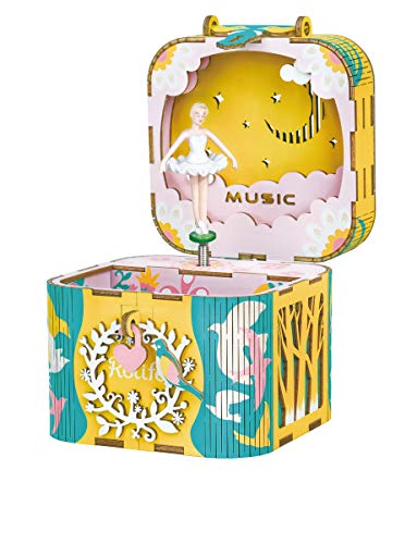 Rolife caja de música de madera para bricolaje, caja musical mecánica para Navidad, cumpleaños