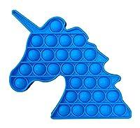 ポッププッシュバブル、減圧玩具、ユニコーン形のプッシュポップバブルフィジット玩具ストレスリリーバー (Color : Blue)